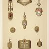 [Nine designs for jewelry, including gold brooch with blue stones and diamonds set into pointed shapes.]