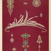 [Nine designs for jewelry, including diamond tiara in shape of sheaf of wheat.]