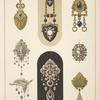 [Eight designs for jewelry, including black and gold brooch with tiny watch.]