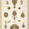 [Fourteen designs for jewelry, including gold brooches and pins containing blue stones.]