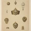 [Ten designs for jewelry, including gold pointed bracelet with green stones.]