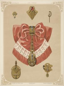 [Six designs for jewelry, including gold brooch and pendant with pink and lace bow.]