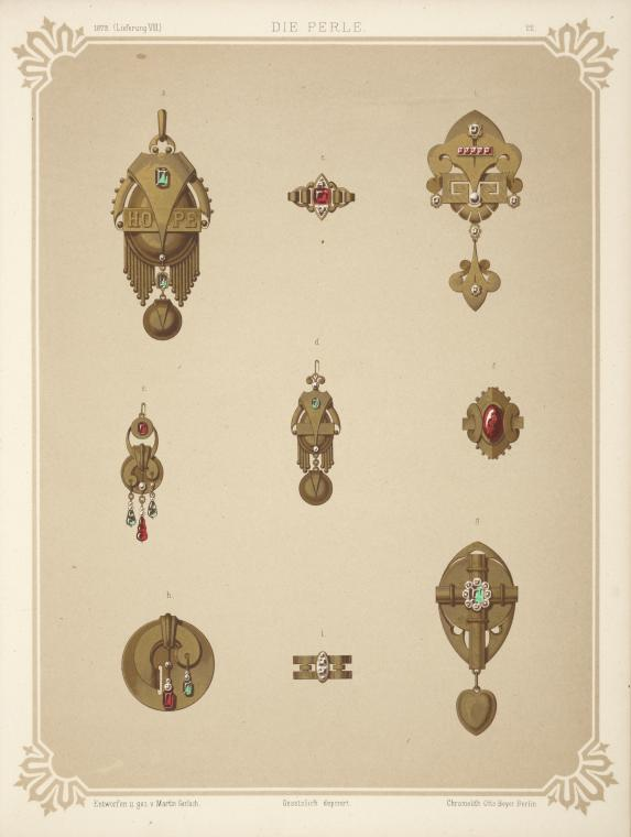 [Nine designs for jewelry, including gold brooch with green stones and word HOPE.]