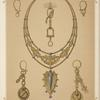 [Six designs for jewelry, including large necklace with gold pendant with blue stones.]
