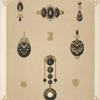 [Nine designs for jewelry, including pendant watch with word LOVE in diamonds.]