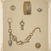 [Six designs for jewelry, including gold bracelet with design of lock and two keys.]