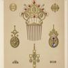 [Eight designs for jewelry, including gold comb with red and gray pearls.]