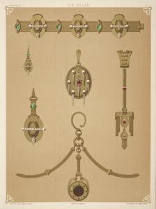 [Six designs for jewelry, including gold brooch with central red stone, pearls, and diamonds.]