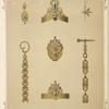 [Seven designs for jewelry, including pointed gold armband with blue stones.]