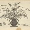 Design of vase with flowers with two birds catching insects