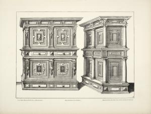 [Design for buffet with four panels containing cameos.]