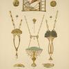 1, 2, 4 et 5. Boutons, or, émail et pierres. 3. Boucle de ceinture, or et émail champlevé, plaques de perle et topazes brûlées. [...]