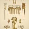 1, 2 et 3. Boutons de manchettes, or, émeraudes, rubis et perle. 4. Peigne, ivoire sculpté et patiné, or et topazes rose. [...]