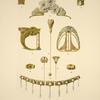 1 et 2. Boutons, or, rubis clairs et opale. 3. Diadème, or, émaux translucides, perles et saphirs clairs, [...]