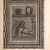 [Mosaic depicting mortar and pestle, man's head, and animal-drawn cart.]