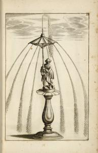 [Fountain with multiple spouts, and central figure of a man.]