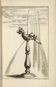 [Fountain with multiple spouts attached to central dolphin figure.]