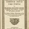 Architectura curiosa nova, Pars tertia, [Title page]