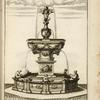 [Fountain with central basin on large carved pedestal and sculptures of cherubs and animals.]