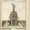 [Elaborate fountain with sculptures of satyrs, cherubs, and a sea god holding a triton.]