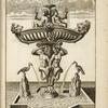 [Elaborate fountain with sculptures of birds, satyrs, lion heads, and cherubs.]