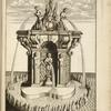 [Fountain with single arch and sculptures of nude youths holding urns.]