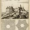 [View of large castle on a slope; two maze plans.]
