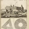 [View of large castle on hill above town; two maze plans, one triangular and one circular.]