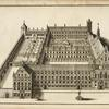 [Drawing of castle and grounds with church, courtyards, gardens, and fountain.]