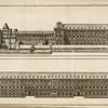 [Two drawings of long buildings, one built alongside a canal.]