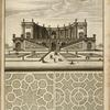 [Semi-circular building with domed niches containing statues; two garden plans.]