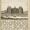 [Large building with moat, elaborately designed gardens, and large fountain; two garden plans.]