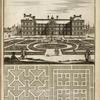 [Large building with elaborate garden with central fountain; two garden plans.]
