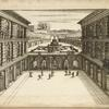 [Courtyard of large building with ground floor arcades and large central fountain.]