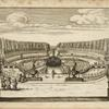 [Elaborate garden designed as an island with a large central fountain.]