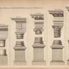 The five orders of architecture with their pedestals.