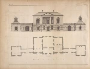 [Plan and elevation of a design for a gentleman near London.]