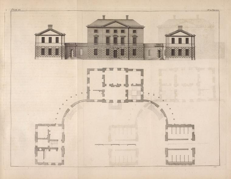 [Plan and elevation of a house built for Alexander Johnston, Esq; in Scotland.]