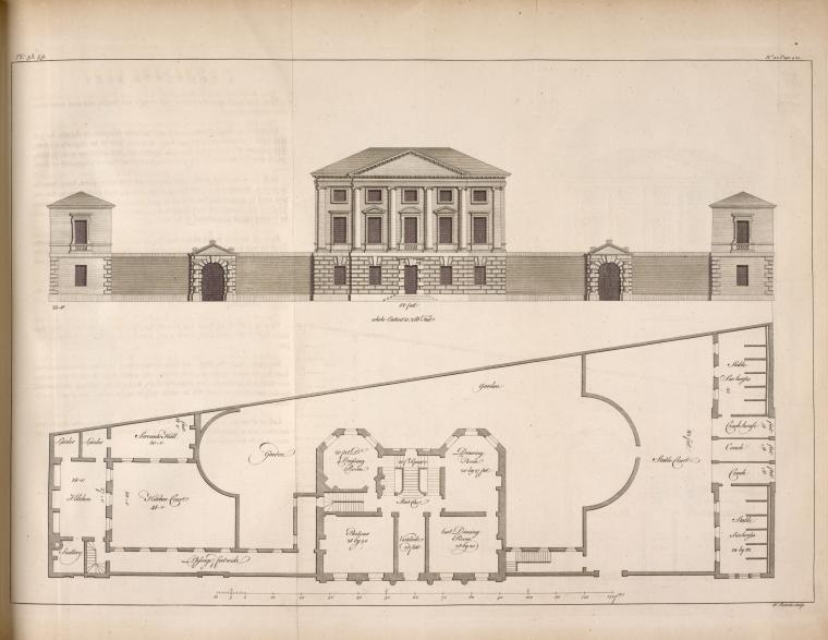 [Plan and elevation of a house intended to have been built opposite Chesterfield House, May Fair.]