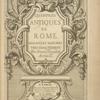 Les édifices antiques de Rome... [Title page]