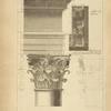 Du portique du Panthéon, à Rome; soffite du larmier; profil par le milieu du chapiteau des colonnes.