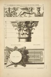 Du portique du temple d'Antonin et de Faustine à Rome; ornements de la frise; chapiteau de colonnes [...]