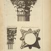 De l'arc de Constantin, à Rome; chapiteau des colonnes dessiné sur l'angle; chapiteau des pilastres; plan du chapiteau des colonnes renversé