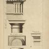 Du premier ordre du théâtre de Marcellus à Rome; plan du chapiteau renversé; imposte des arcs.