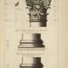 De la grande salle des thermes de Diocletian, à Rome; profil et face du chapiteau des quatres colonnes de la salle; base des quatres colonnes du milieu de la salle; [...]