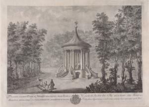 Vue partere du pavillon dans le parc qui se trouve entre Kouskowa et Vechnjakowo, appartenant à S. E. le Cte P. de Cheremettoff representée sur le midi. [sic]