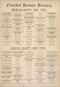 """Classified Business Directory of Orleans County, New York;Classified Business Directory of Niagara County, New York"""