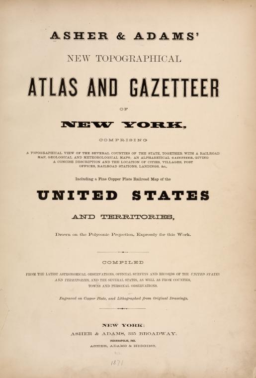 Asher & Adams' New Topographical Atlas and Gazetteer of New York. [Title page]