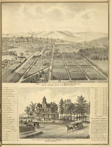 "Bird's eye view of the city of Binghamton, N.Y., and the suburban property of J.G.Orton at West End; ""The Grove"", Residence of Dr. J.G. Orton, at West End, Binghamton, N.Y."