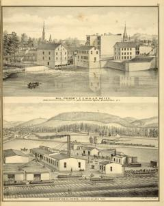 Mill Property of E.M. & J.P. Noyes, Comb Manufacturers, Ferry St., near Suspension Bridge, Binghamton, N.Y.; Binghamton Oil Works, Binghamton, N.Y.